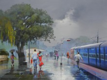 Bijay Biswaal | Acrylic Painting title Wet Platform VI on Canvas