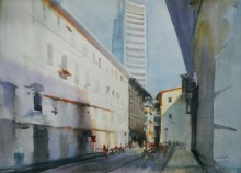 Cityscape Watercolor Art Painting title White Building by artist Bijay Biswaal