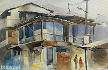 Cityscape Watercolor Art Painting title 'Wild House In Mahal' by artist Bijay Biswaal