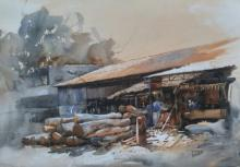 Bijay Biswaal | Watercolor Painting title Woodmart on Paper