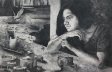 Preya Bhagat | Cinched Pages Printmaking by artist Preya Bhagat | Printmaking Art | ArtZolo.com