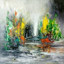 Abstract Acrylic Art Painting title 'Untitled 1' by artist Kamran Azim