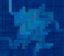 Abstract Acrylic Art Painting title Aquatic by artist Kishor Gaonkar