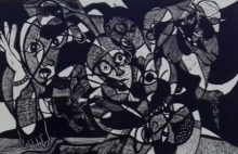 Jintu Mohan Kalita | Human Behavior Printmaking by artist Jintu Mohan Kalita | Printmaking Art | ArtZolo.com