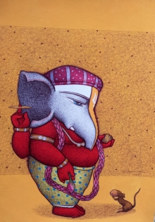 Religious Mixed-media Art Painting title Ganesha 2 by artist Mohammed Suleman