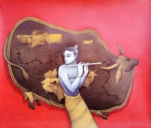 Religious Mixed-media Art Painting title Krishna 2 by artist Mohammed Suleman