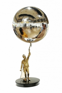 Mixedmedia Sculpture titled 'Boy With Ballon' by artist Ram Kumbhar