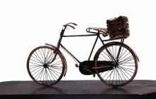 Mixedmedia Sculpture titled 'Newspaper On Bicycle' by artist Ram Kumbhar