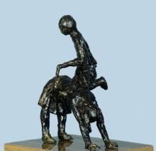 Bronze Sculpture titled 'Village Play' by artist Kishor Sharma