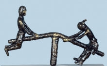 Bronze Sculpture titled 'Village Play 2' by artist Kishor Sharma