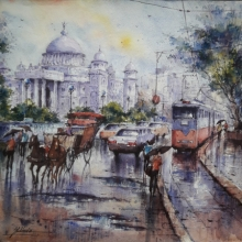 Cityscape Watercolor Art Painting title 'Victoria memorial in kolkata' by artist SHUBHASHIS MANDAL