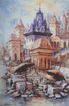 Religious Watercolor Art Painting title 'Benras ghat-3' by artist SHUBHASHIS MANDAL