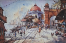 Religious Watercolor Art Painting title Benaras ghat-4 by artist SHUBHASHIS MANDAL