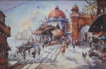 Religious Watercolor Art Painting title 'Benaras ghat-4' by artist SHUBHASHIS MANDAL