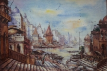 Religious Watercolor Art Painting title 'Benras ghat-2' by artist SHUBHASHIS MANDAL