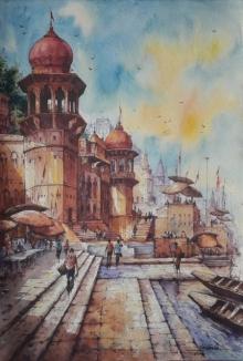 Religious Watercolor Art Painting title 'Benaras ghat-5' by artist SHUBHASHIS MANDAL