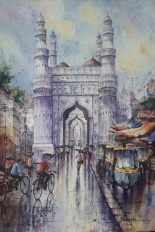 Cityscape Watercolor Art Painting title 'Hyderabad-1' by artist SHUBHASHIS MANDAL