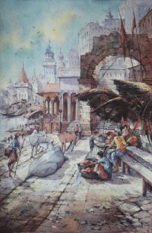 Religious Watercolor Art Painting title 'Benaras ghat-6' by artist SHUBHASHIS MANDAL