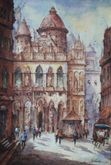Cityscape Watercolor Art Painting title '20200417 104230' by artist SHUBHASHIS MANDAL