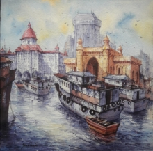 Cityscape Watercolor Art Painting title Indian gateway in mumbai by artist SHUBHASHIS MANDAL