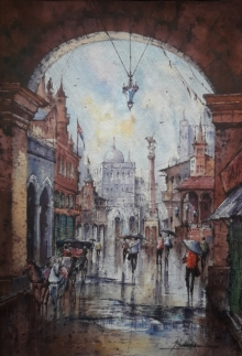 Cityscape Watercolor Art Painting title 'City in Italy-1' by artist SHUBHASHIS MANDAL