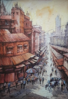 Cityscape Watercolor Art Painting title 'City scape-2' by artist SHUBHASHIS MANDAL