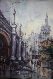 Cityscape Watercolor Art Painting title City in Italy-2 by artist SHUBHASHIS MANDAL