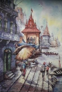 benaras ghat#watercolour #