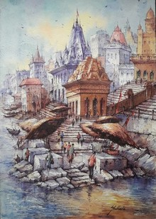 Cityscape Watercolor Art Painting title Banaras Ghat 10 by artist SHUBHASHIS MANDAL