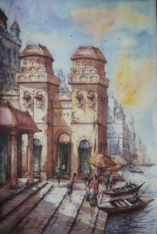 Cityscape Watercolor Art Painting title Banaras Ghat 11 by artist SHUBHASHIS MANDAL