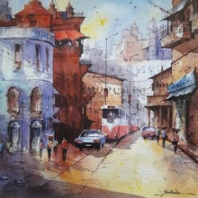 Cityscape Watercolor Art Painting title Cityscape 1 by artist SHUBHASHIS MANDAL