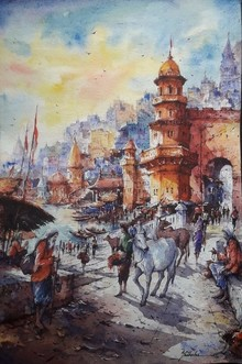 Cityscape Watercolor Art Painting title Cityscape 12 by artist SHUBHASHIS MANDAL