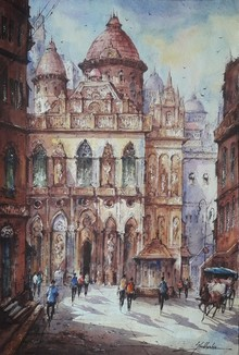 Cityscape Watercolor Art Painting title Cityscape 14 by artist SHUBHASHIS MANDAL