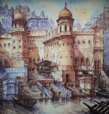 Cityscape Watercolor Art Painting title Cityscape 3 by artist SHUBHASHIS MANDAL