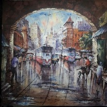 Cityscape Watercolor Art Painting title Cityscape 4 by artist SHUBHASHIS MANDAL