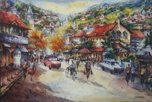 Cityscape Watercolor Art Painting title Cityscape 5 by artist SHUBHASHIS MANDAL