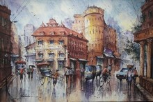 Cityscape Watercolor Art Painting title Cityscape 8 by artist SHUBHASHIS MANDAL
