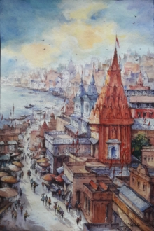 Cityscape Watercolor Art Painting title 'Top view of Benaras- 1' by artist SHUBHASHIS MANDAL