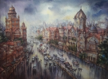 Cityscape Watercolor Art Painting title Vt Station In Mumbai-2 by artist SHUBHASHIS MANDAL