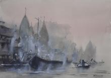 Landscape Watercolor Art Painting title 'Misty Banaras Ghats' by artist Mrutyunjaya Dash