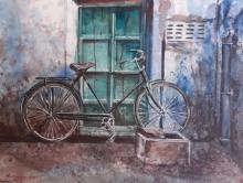 Landscape Watercolor Art Painting title 'BiCycle in Jodhpur' by artist Mrutyunjaya Dash