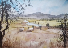 Landscape Watercolor Art Painting title 'Overlooking the countryside' by artist Mrutyunjaya Dash