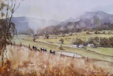 Landscape Watercolor Art Painting title 'Panaromic pastures' by artist Mrutyunjaya Dash