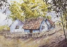Landscape Watercolor Art Painting title 'Tropical summers' by artist Mrutyunjaya Dash