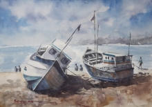 Landscape Watercolor Art Painting title 'Boats at rest' by artist Mrutyunjaya Dash