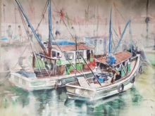 Landscape Watercolor Art Painting title 'Fishing boats in Chapora, Goa' by artist Mrutyunjaya Dash