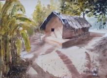 Landscape Watercolor Art Painting title Village hut in Odisha by artist Mrutyunjaya Dash