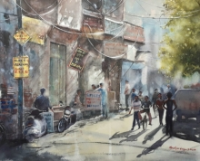 Cityscape Watercolor Art Painting title 'Twilight in market area' by artist Mrutyunjaya Dash