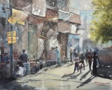 Cityscape Watercolor Art Painting title Twilight in market area by artist Mrutyunjaya Dash