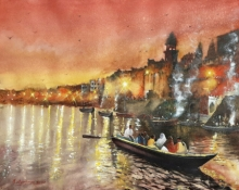 Cityscape Watercolor Art Painting title Banaras Ghats in evening by artist Mrutyunjaya Dash